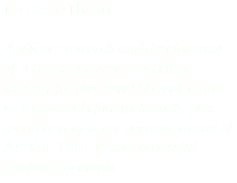 The Rose Theatre Audience research and development of a comprehensive marketing strategy for this new 900-seat venue in Kingston before its launch, plus promotion of a pre-opening season of As You Like It and successful fundraising events.