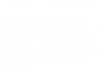 A Celebration of the Spanish Guitar Creation and implementation of an effective but economical marketing and promotional campaign for a classical concert at the Barbican, working with overseas promoters who were new to the UK and exceeding their box office expectations